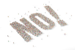 Large and diverse group of people gathered together in the shape. Of the word no Stock Images