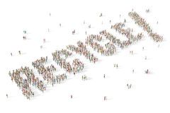 Large and diverse group of people gathered together in the shape. Group of people gathered together in the shape of the word recycle Royalty Free Stock Photos