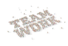 Large and diverse group of people gathered together in the shape. Of the word team work Royalty Free Stock Photos