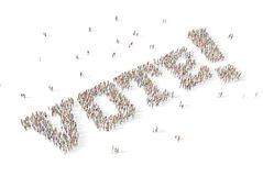 Large and diverse group of people gathered together in the shape. Group of people gathered together in the shape of the word vote Stock Images