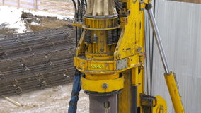 Large do rig for drilling holes for pillars. stock video footage