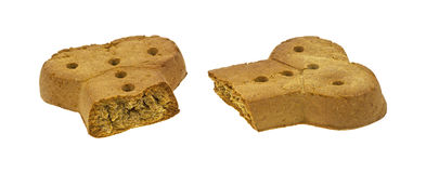 Large dog biscuit broken in half Stock Image