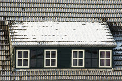 Large dormer with snow Stock Photo