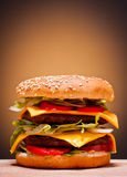 Large double burger Royalty Free Stock Images