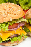 Large double cheeseburger Royalty Free Stock Images
