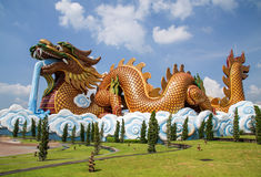A large dragon statue. In the China temple Stock Image