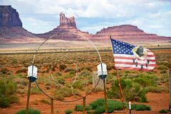 Large Dreamcatcher. And Flag in Navajo Nation Territory - Arizona, United States Stock Images