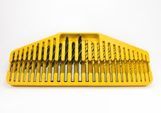 Large Drill bits set. Huge set of drill bits on white background Stock Photo