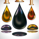 Large drops of oil dripping from the faucets. Royalty Free Stock Image