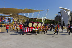 Large drums on a cartwheel on the Japanese traditional parade on EXPO 2015 Royalty Free Stock Photography