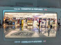 Large duty free shop for cosmetics and perfumes stock image