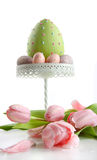 Large easter egg with pink tulips Royalty Free Stock Photography