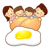 Large Egg and Family Mascot. Home and Family Character Design Se Stock Image