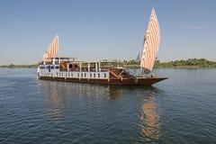 Large Egyptian Dahabeya River Boat Sailing On Nile Royalty Free Stock Images