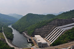 Large electric dam in valley of western Thailand Royalty Free Stock Photo