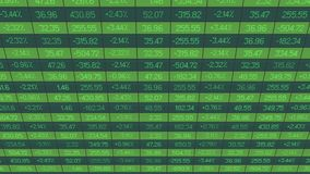 Large electronic display with update on securities market deals, financial data Stock Photo