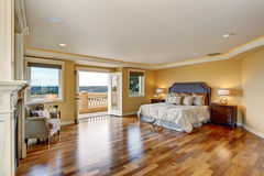 Large elegant master bedroom with fireplace. Stock Photography