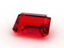 Large emerald cut ruby gemstone Royalty Free Stock Photos