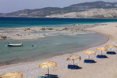Large empty beach at the east of the island, Rhodes, Greece Royalty Free Stock Photo