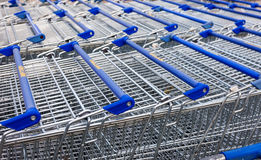 Large empty blue shopping cart Royalty Free Stock Image