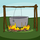 Large Empty Cauldron On Campfire Royalty Free Stock Photos
