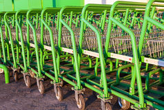 Large empty green shopping cart Leroy Merlin store Stock Photos