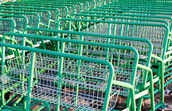 Large empty green shopping cart Leroy Merlin store Stock Image