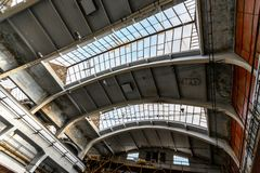 Large empty hall with concrete walls Royalty Free Stock Images