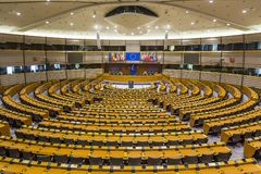 European Parliament in Brussels / Belgium / 06.27.2018 from inside emptied. royalty free stock photos
