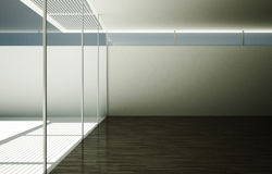 The large empty light room with the output of glass doors. Royalty Free Stock Images
