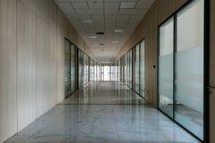 Large empty office corridor interior stock image