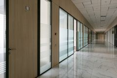 Large empty office corridor interior royalty free stock image