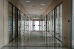Large empty office corridor interior stock images