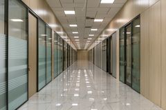 Large empty office corridor interior stock photography