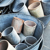 Large empty pots on sale . Royalty Free Stock Photography