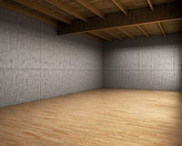 Large empty room with concrete walls. 3d illustration royalty free illustration
