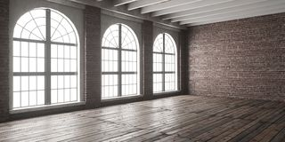 Large empty room in loft style. With big arched windows. Interior mock up with wooden floor and brick wall. 3D render royalty free stock photos