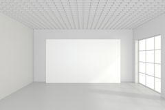 Large empty room with standing billboards. 3d rendering.  Stock Image
