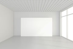 Large empty room with standing billboards. 3d rendering.  Royalty Free Stock Image