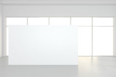 Large empty room with standing billboards. 3d rendering Stock Photos