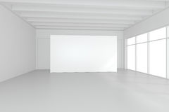 Large empty room with standing billboards. 3d rendering.  Royalty Free Stock Photo