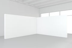 Large empty room with standing billboards. 3d rendering.  Royalty Free Stock Images