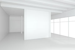 Large empty room with standing billboards. 3d rendering.  Stock Photography