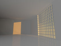 Large empty room with windows 3D rendering Royalty Free Stock Image