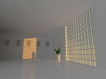 Large empty room with windows 3D rendering Stock Image