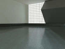 Large empty room with windows 3D rendering Royalty Free Stock Photos