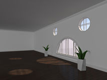 Large empty room with windows 3D rendering Royalty Free Stock Photography