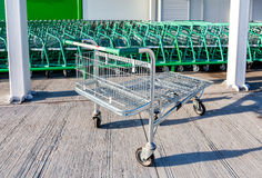 Large empty shopping cart Leroy Merlin store Stock Image