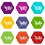 Large empty supermarket cart icon set color hexahedron. Large empty supermarket cart icon set many color hexahedron isolated on white vector illustration Royalty Free Stock Photo
