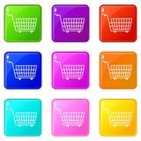 Large empty supermarket cart icons 9 set. Large empty supermarket cart icons of 9 color set  vector illustration Stock Photography